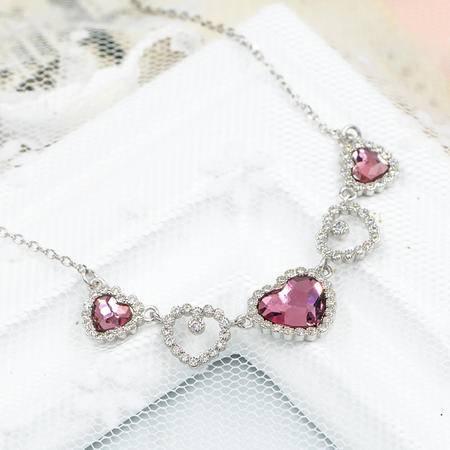 爱心密镶奥地利水晶S925银项链锁骨链NE31438