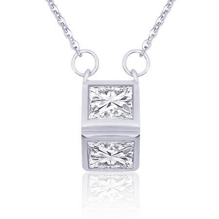 简约几何镶锆石S925银项链NE32402