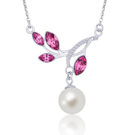 施华洛世奇水晶枝桠强光珠s925银项链锁骨链NE31466(粉红色)