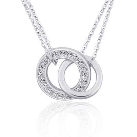 璀璨的爱环环相扣S925银密镶项链锁骨链NE32325