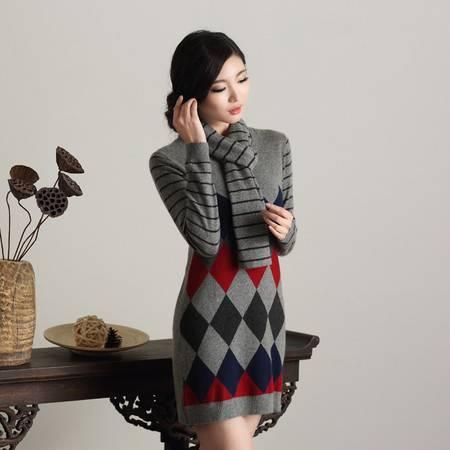 圣雪海羊绒纯山羊绒连衣裙赠同款围巾 211619