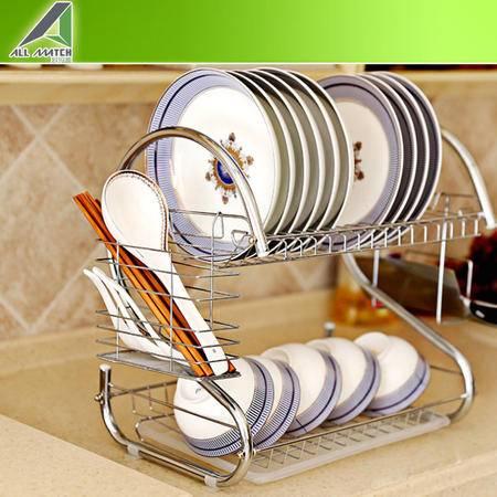 不锈钢S型沥水架 双层置物架 42*25*40cm多功能厨房碗碟架OMQ-SN145
