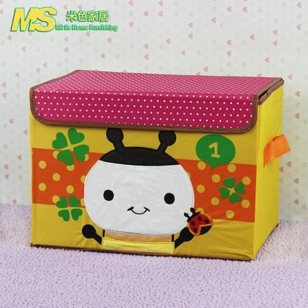 米色家居卡通收纳植绒绣花蜜蜂图案牛津布收纳盒 儿童玩具整理箱MS-SN029