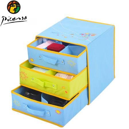 毕加索 花束系列 无纺布三层三抽抽屉整理盒 精致清新收纳盒 PS-SN-303