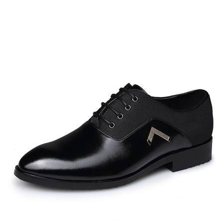 猎旗休闲男鞋男士商务牛皮鞋英伦风尖头婚鞋男真皮系带透气皮鞋8255