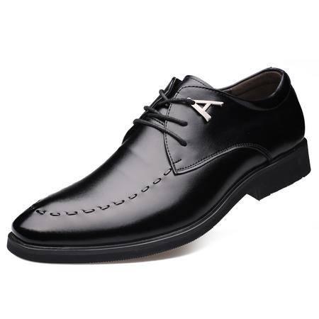 猎旗新款男士皮鞋男真皮英伦男鞋系带尖头商务正装休闲青年潮皮鞋7771