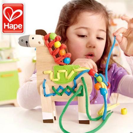 德国hape小马穿绳 手穿绳玩具 宝宝穿线板 儿童益智早教3岁以上
