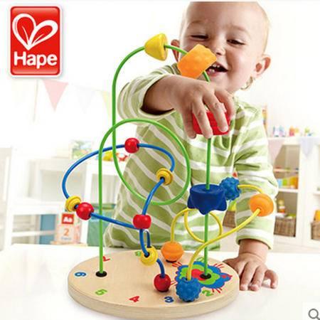 德国Hape 火箭基地 大号绕珠串珠 两岁宝宝玩具2-3岁宝宝早教益智