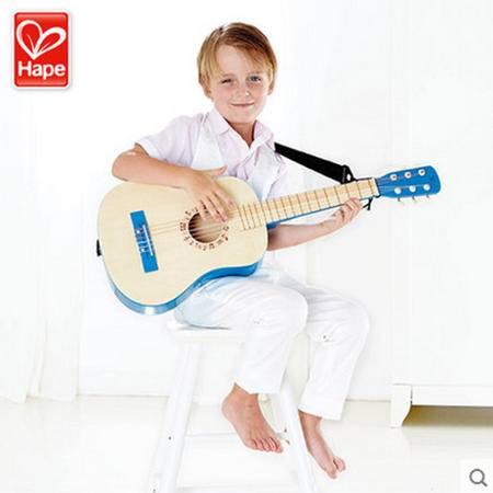 德国Hape 乐动蓝色/红色吉他 早旋律宝宝儿童玩具 6弦木制小吉他