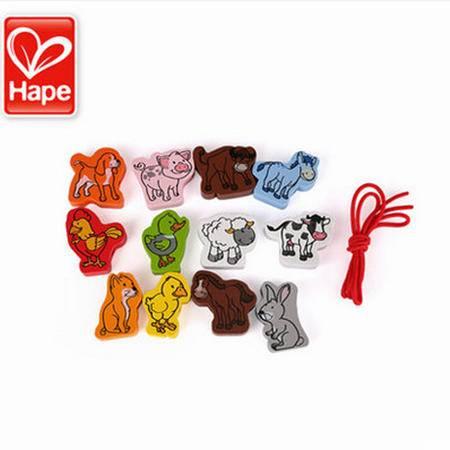 德国Hape立体农场动物 儿童宝宝益智玩具1-2岁 木制穿绳子