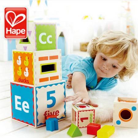 德国Hape 五彩知识套盒 一周岁儿童生日礼物 宝宝益智玩具1-2岁
