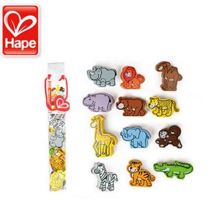 德国Hape 立体野生动物积木 木制 多种动物认知 10个月以上宝宝