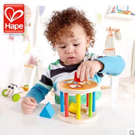 德国Hape儿童积木滚滚乐 几何形状盒木制配对宝宝益智玩具1-3岁