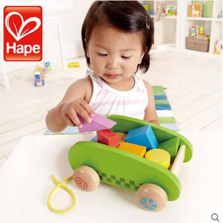 德国Hape 儿童木制拖拉车 大块益智积木车 1岁宝宝玩具1-2岁