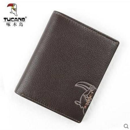 啄木鸟正品男士短款拉链钱包 牛皮竖款钱夹啡色韩版休闲青年皮夹