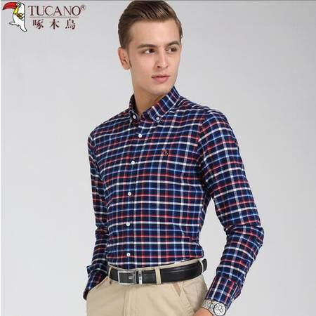 啄木鸟春秋季装磨毛格子衬衫纯棉长袖男士扣领中青年休闲衬衣厚款
