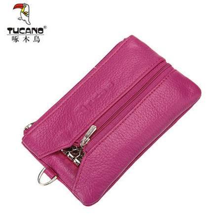 啄木鸟女式钥匙包韩版牛皮多功能零钱包女士迷你钱夹手包手拿包
