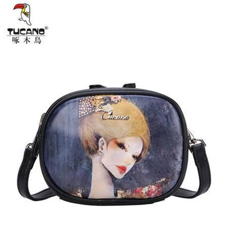 啄木鸟日韩迷你小包包女士个性印花斜挎包小方包新款时尚复古女包