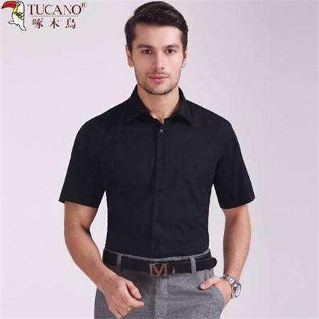 啄木鸟2016夏装男士大码短袖衬衫纯黑色商务休闲宽松直筒半袖衬衣