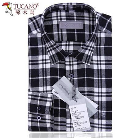 啄木鸟简约黑白格子衬衫男士长袖纯棉时尚衬衣磨毛休闲装秋季新款