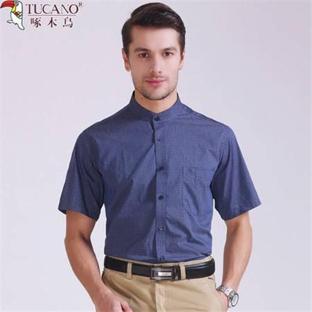 啄木鸟夏装中国风男士短袖格子立领衬衫气质直筒型男休闲圆领衬衣