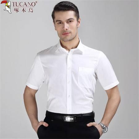 啄木鸟夏季纯棉白色暗条纹短袖衬衫男士商务正装休闲工装半袖衬衣