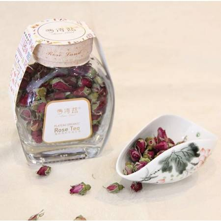 萝诗蓝 高原有机玫瑰花茶 玻璃瓶装  70g