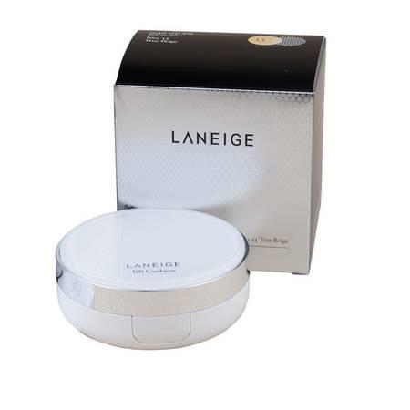 韩国专柜正品 新版 兰芝 雪润无暇气垫粉凝霜spf50 15g*2 亮米色 自然色 两色可选