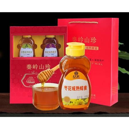 众天秦岭山珍 天然农家野生土蜂蜜400克*4瓶礼盒装