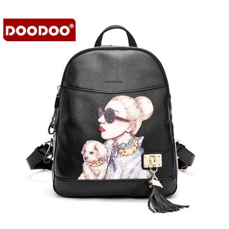 doodoo双肩包女韩版PU新款百搭学院风小背包日韩简约多隔层旅行包D6007