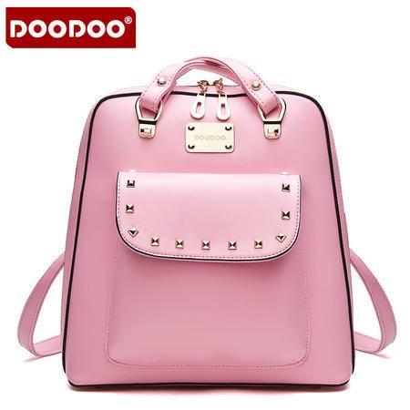 doodoo2016新款休闲双肩包女韩版潮学院风pu皮旅行背包铆钉女包包D5004