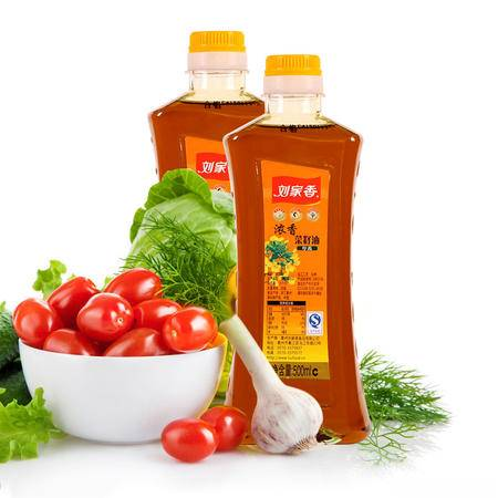 刘家香 浓香菜籽油 非转基因 物理压榨 农家菜籽 新榨食用油500ml/瓶*2