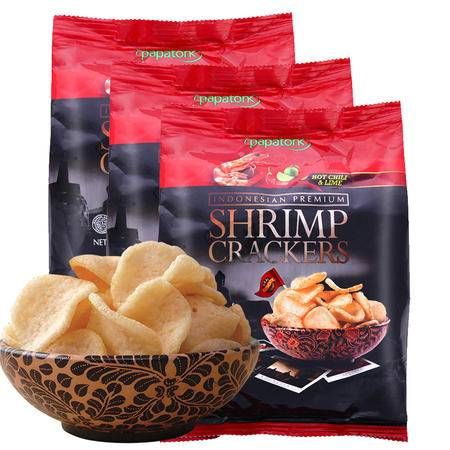 Papatonk 啪啪通 印尼虾片 不含膨化剂 冬阴功味虾片 40g/袋*3