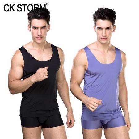 CK STORM 男士背心 2件盒装冰丝无痕瑜运动速干一片式型男背心