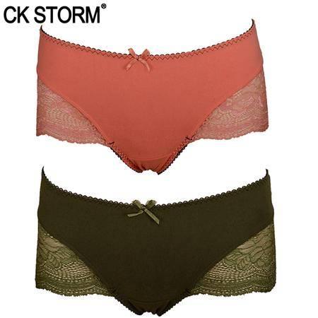 CK STORM 女士内裤 新款性感蕾丝女内裤 蚕丝蛋白三角裤 2条装 CK-WE02N1347