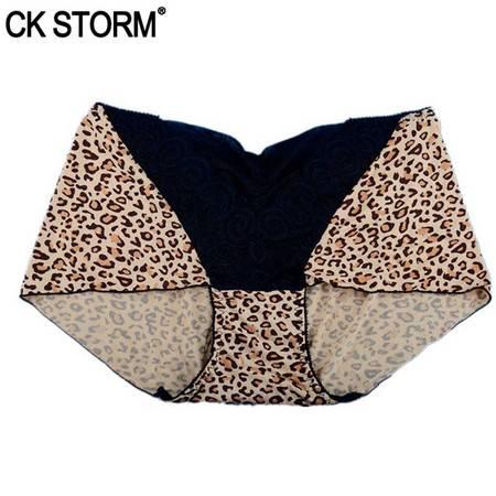 CK STORM 女士内裤 春季新款时尚豹纹女内裤 蕾丝拼接平角裤 2件装CK-WE02N1562