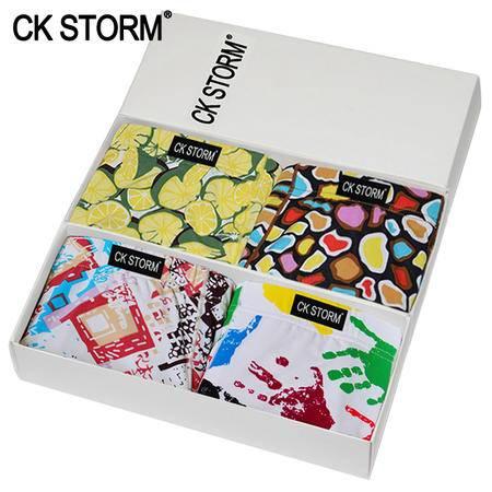 CK STORM 男士内裤 4条装 时尚印花U凸设计立体囊袋内裤 男平角裤CK-ME04N5053