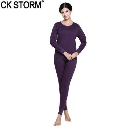 CK STORM 保暖内衣 舒适基础款 精梳棉薄款纯色圆领女士内衣套装CK-W01Y0689