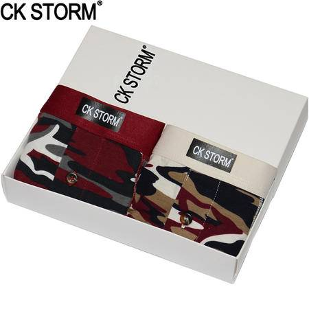 CK STORM 男士内裤 2条装 莱卡棉系列U凸大囊袋防摩擦迷彩加长平角裤CK-ME02N0618