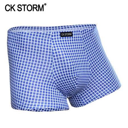 CK STORM 男士内裤 精梳棉时尚系列 U凸囊袋立体包裹无痕方格子平角裤CK-ME01N0816