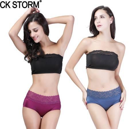 CK STORM 女士内裤 商场同款性感蕾丝无痕三角裤  两条礼盒装