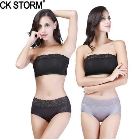 CK STORM 女士内裤 商场同款性感蕾丝无痕三角裤 2条礼盒装