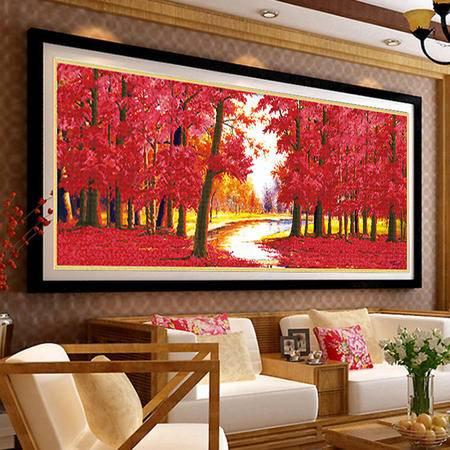 5D枫叶钻石画鸿运当头十字绣红树林全景新款客厅大幅印花系列