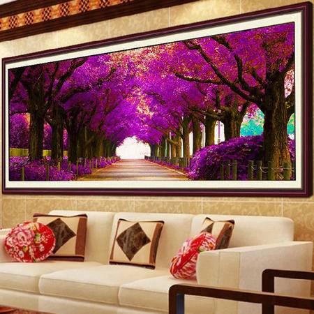 5D钻石画最美的季节梦幻紫色大道魔方钻圆钻客厅风景贴钻绣十字绣