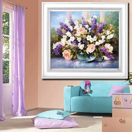 5D钻石画紫色心情十字绣花卉餐厅钻石绣魔方钻立体圆钻魔方钻
