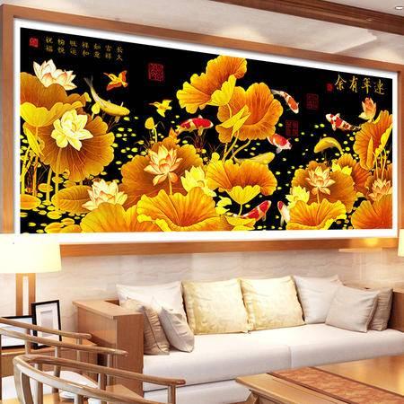 8220魔方圆钻5D钻石画金色荷花客厅贴钻系列画