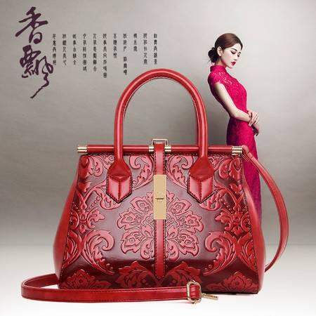 迪阿伦新款复古中国风女士手提包 时尚潮流精美雕花女士手挽包 超大容量单肩斜挎女包复古