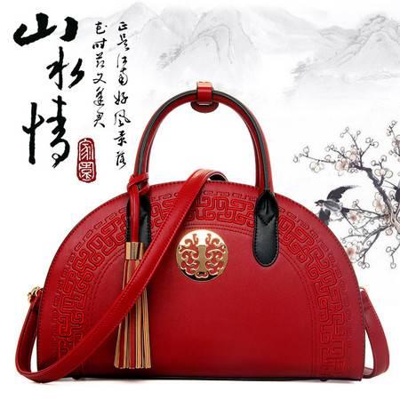 迪阿伦新款时尚中国风流苏女士手提包简约潮流月牙女士单肩包 休闲百搭贝壳单肩斜挎包