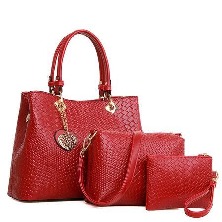 迪阿伦新款优雅时尚编织手提包通勤商务女士单肩包桃心吊坠三件套子母包桶形手提包金色女包
