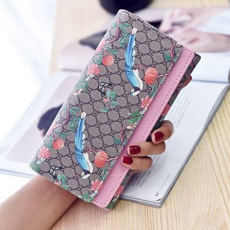 迪阿伦双层长款钱包带盒2016新款韩版女式印花双层盖折叠手拿包3088